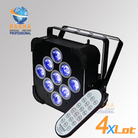 4X LOT UK Warehouse Hex V9 IRC Remote 9pcs*18W 6in1 RGBAW UV Battery Powered&Wireless LED Flat Par Projector Stage Slim Par Can