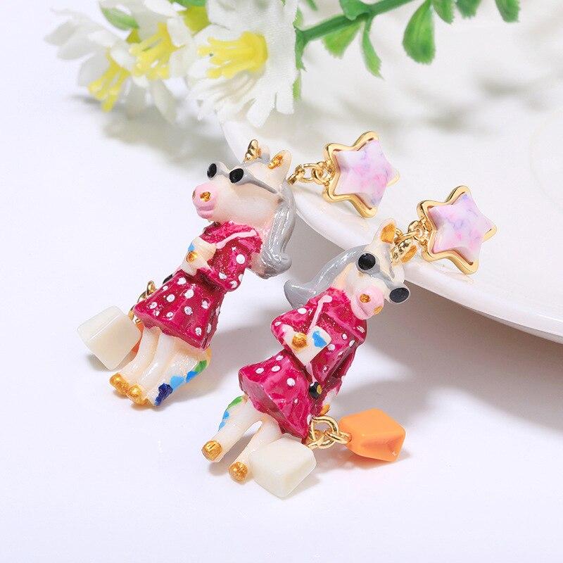 unicorn series enamel glaze earring 4