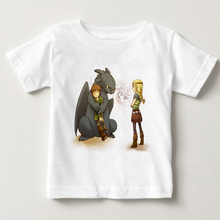 T-Shirts children How to Train Your Dragon Heather Blusa Print Toothless on Sunset T Shirt boy and girl summer T-shirt MJ недорого