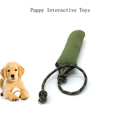 Dog Biting Tug Toy Pet Training for Yong Dogs with Two Handles Canvas Bite Stick Interactive Toys