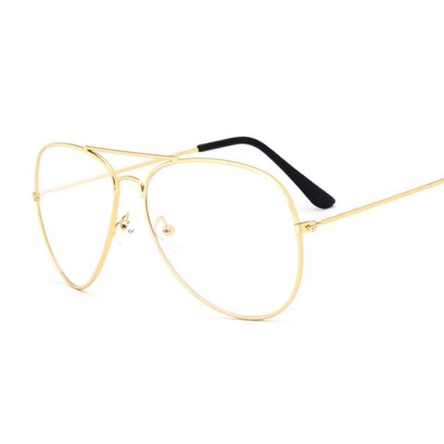 e133e81fc8b76 Nuevo diseño hombre marco transparente gafas aviación espectáculo lente  claro Vintage Pliot gafas de sol para