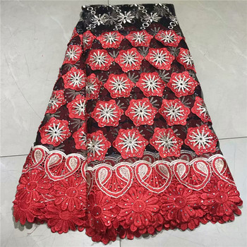 Hot Sale French Lace Fabric Red Color Nigeria Laces Fabric High Quality African Tulle Lace Fabric For Wedding Party  2l3065-2932