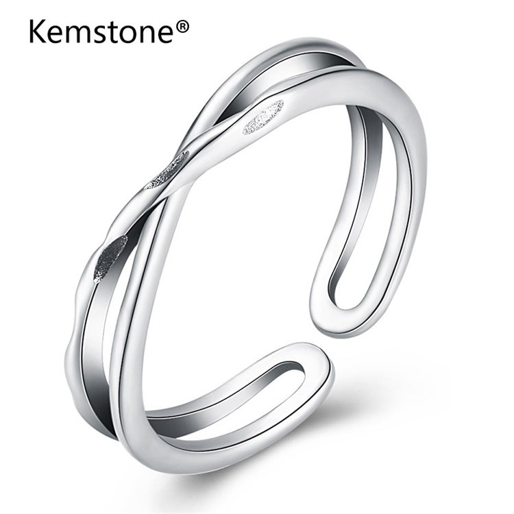 Kemstone Sterling Silver X Hollow Cross Open Ring Fashion Simple Adjustable Finger Jewelry Mothers Day Gift Wholesale