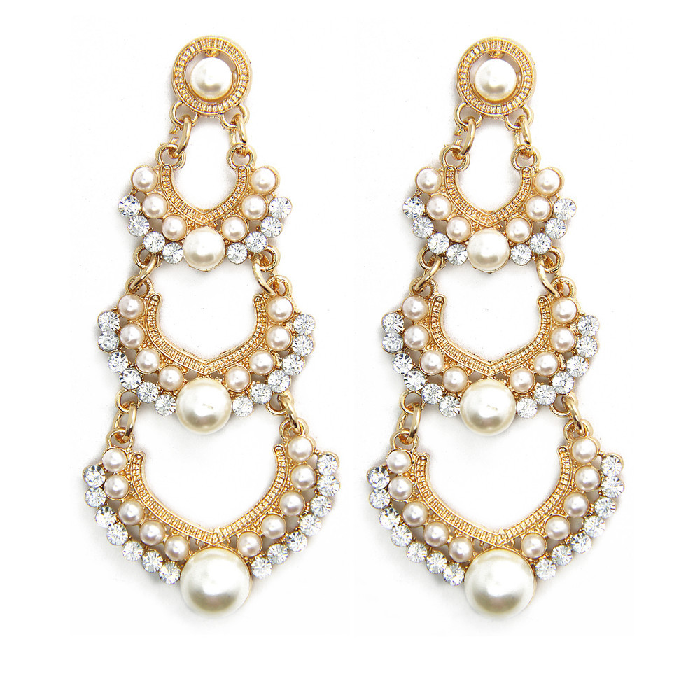 Elegant Indian Earrings Cheap Jewelry Full Pearl Heart Pierced Rhinestone  Gold Vintage Women Dangle Statement Earring