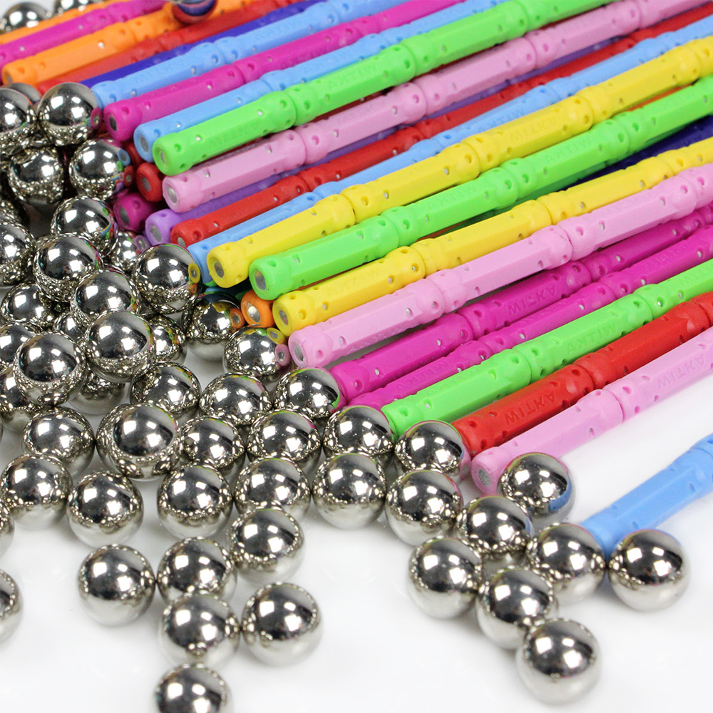 200 pièces barres magnétiques en métal boule magnétique concepteur blocs de Construction jouets de Construction pour enfants cadeau bricolage concepteur éducatif