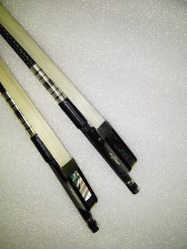 2 PCs Cello bow Carbon Fiber Cello bow with white bow hair ebony frog 4/4 one is silver wire inlay one is red wire inlay
