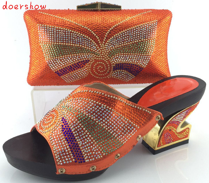doershow New Arrival High quality matching italian shoe and bag set,African Lady high heels to match women dress HJY1-10 doershow italian shoe and bag set african lady shoes matching wedding party dress for free shipping puw1 11