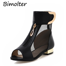 Bimolter 2018 New Summer Elegant Brand Mesh Yarn Sandals Women Metal Decoration Peep Toe Bootie Shoes Big Size 34-43 PSEA028