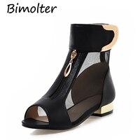 Bimolter 2018 New Summer New Elegant Brand Mesh Yarn Sandals Women Metal Decoration Peep Toe Bootie Shoes Big Size 34 43 PSEA028