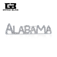 USA States Theme Gift Bling Rhinestone ALABAMA State Word Pin Crystal Brooch Jewelry