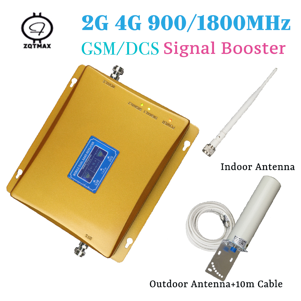 Dual Band 2G 1800 Repeater 4g GSM 900 LTE 1800 Mobile Phone 70dB Signal Booster 4G Cellular Signal Amplifier 2g 4g Antenna Sets