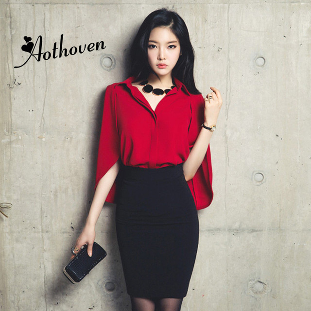 2 Pieces Sets Women suit Sexy Office Red Cloak Chiffon Shirt Tops and Bandage Black Pencil Skirts Vintage two piece set Vestidos