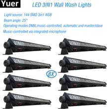 8 pçs/lote nova luz do estágio rgb 3in1 led luz de lavagem de parede dmx barra led linha barra lavagem luz palco para dj corrida cavalo interior lâmpada