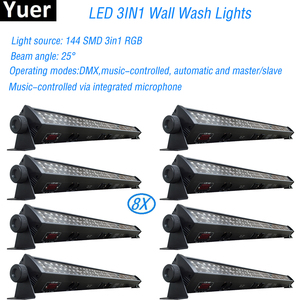Image 1 - 8Pcs/Lot NEW stage light RGB 3IN1 Led Wall Wash Light DMX Led Bar DMX Line Bar Wash Stage Light For Dj Indoor horse race lamp