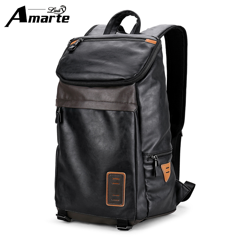 Amarte PU Leather Backpack Large Capacity Man Travel Bags High Quality Trendy Business Bag For Men Leisure Laptop Backpack new men s pu leather solid business backpack fashion casual travel high capacity