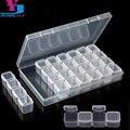 Пластиковая пустая коробка для хранения с 28 отделениями, аксессуары для дизайна ногтей, инструменты, камни для ногтей, прозрачная коробка, ф...