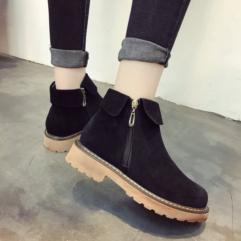 COOTELILI Side Zipper Ankle Boots For Women Winter Shoes Fashion Rubber Sole Platform Boots Ladies Shoes Black Brown 35-39 (9)