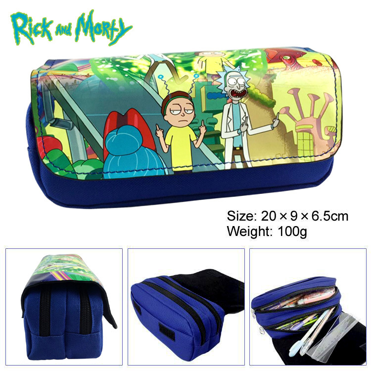 Rick Anime Cosmetics Bags Zipper School Pencil Case Storage Pen Bag Large  Stationery Gift New Morty