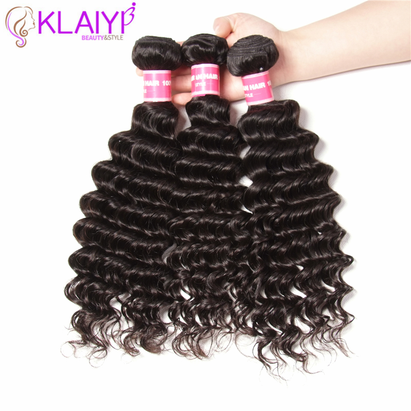 Human Hair Weaves 3/4 Bundles Klaiyi Hair Brazilian Body Wave Human Hair 100% Remy Hair Weave Bundles Natural Black 10-30 Inch Free Shipping