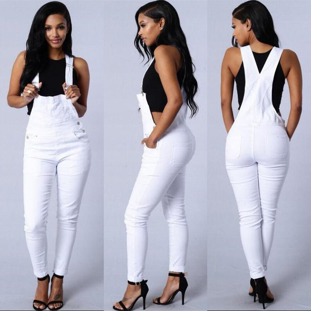 832b7fff2c09 Earoomze 2018 Fashion Women s Skinny Bib Overalls Jeans Chic Design Woman  Casual Denim Jumpsuits White Jeans Lady Strap Pants