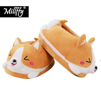 Кои тапочки с собачкой мультфильм милый двойной Шиба ину теплый плюш Keji шлёпанцы для женщин домашние тапочки хлопок pad обувь