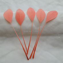 100PCS/LOT!Stripped Goose Satinettes Feathers-Crafting Feathers-Bridal Feathers-Watermelon Red-Feathers-10-18cm long