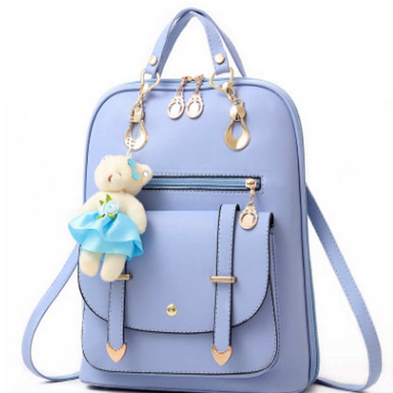 Bear Backpack Female Cute bear School Bags For Girls Backpacks For Women Bag Travel Shoulder Bags sac a main PU Leather Backpack