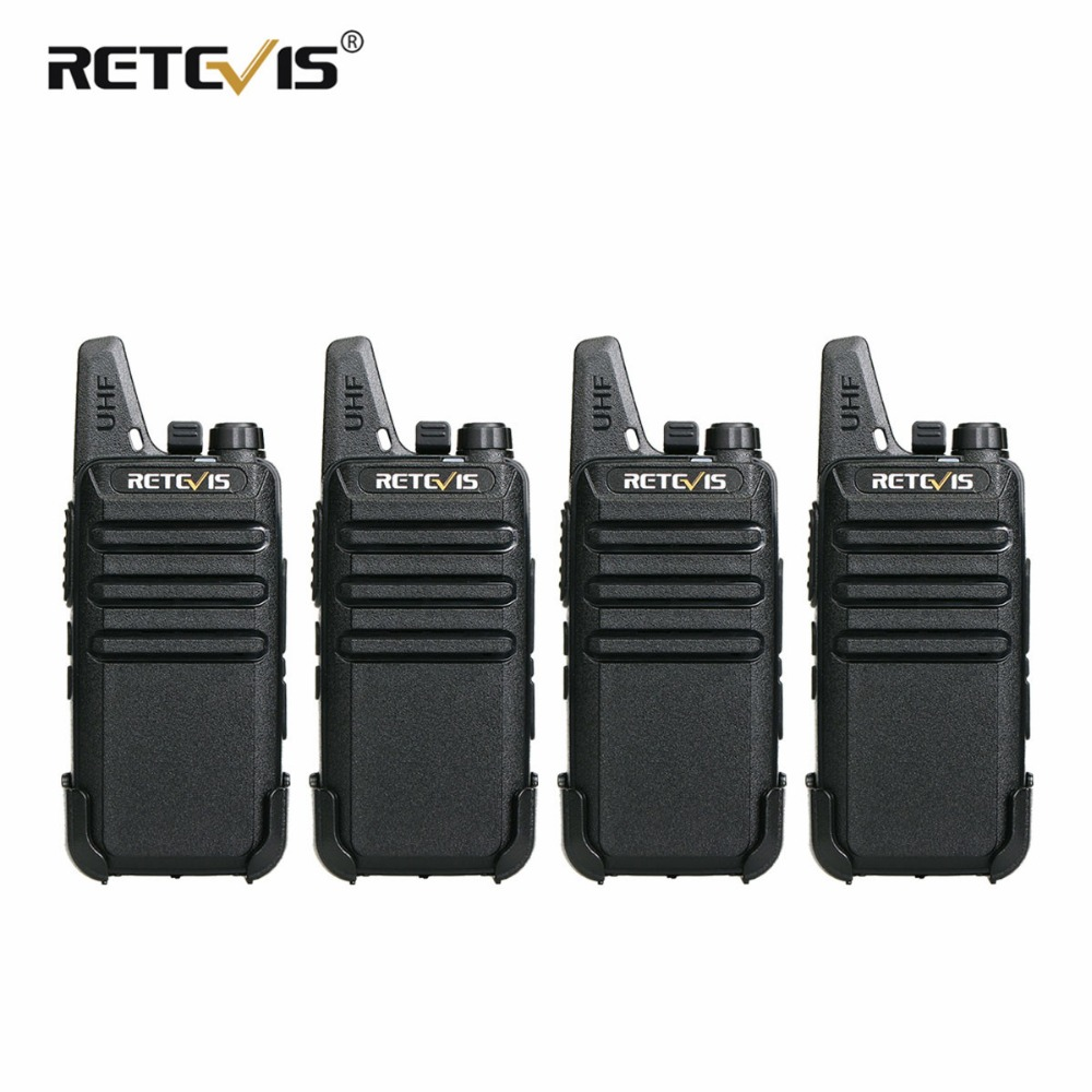 4 unidades Retevis RT22 Mini Walkie Talkie Radio 2W UHF VOX USB de - Radios