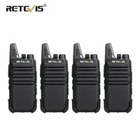 4 pcs Retevis RT22 Mini Walkie Talkie Radio 2W UHF VOX USB Charge Rechargeable Two Way Radio Station Walkie Talkie Transceiver