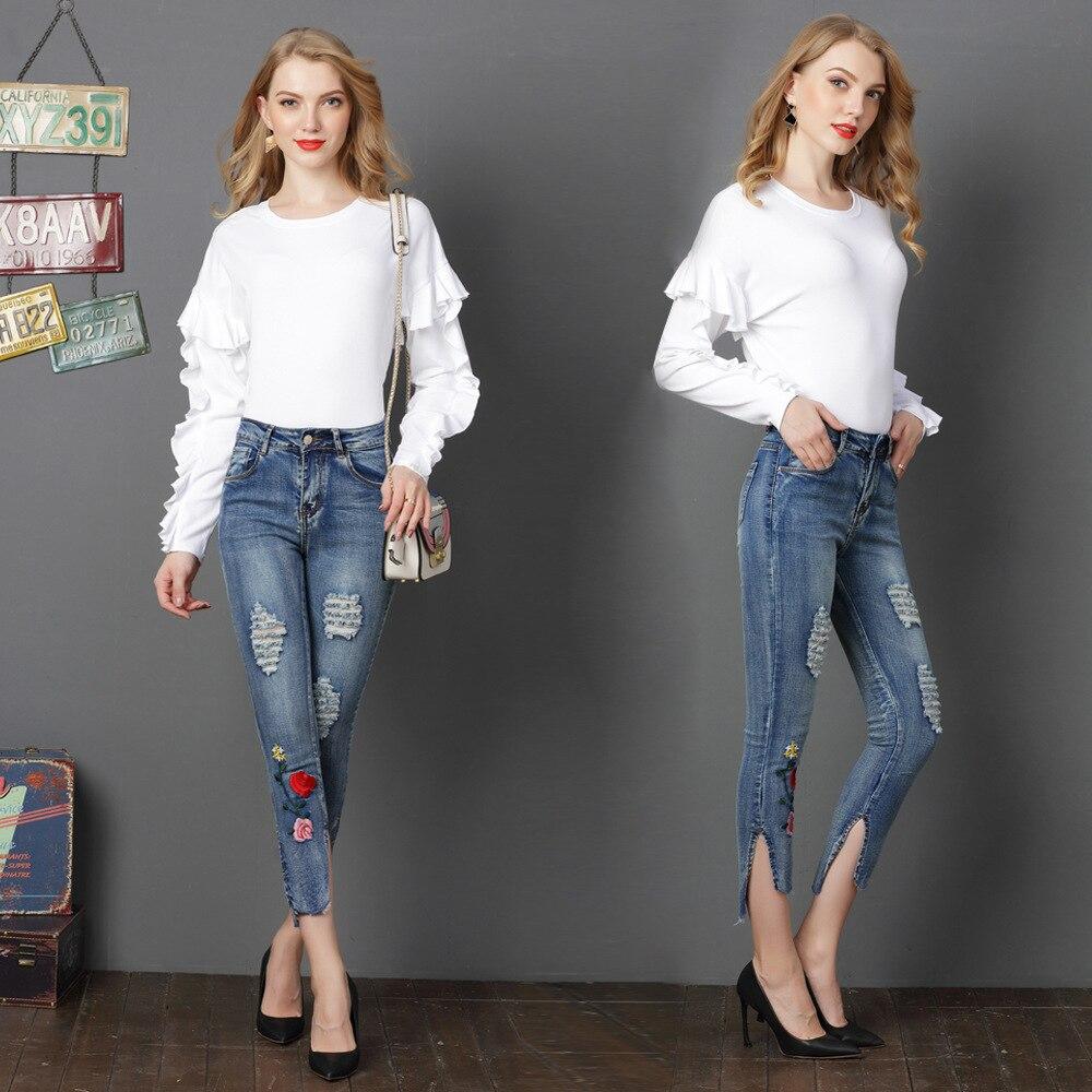 Женские рваные джинсы до щиколотки с цветочной вышивкой, новинка 2018 года, женские модные классические джинсовые узкие брюки с высокой талие