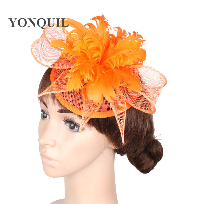 Aliexpress Free Shipping Gold Sinamay Hats Feather Flower Fascinators For Party Bridal Wedding Hair Accessories Tail Of153512 From