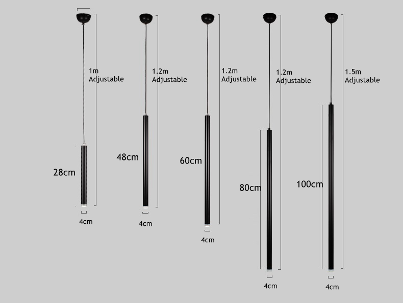 LukLoy Anhänger Lampe Lichter Küche Lampe Insel Esszimmer Wohnzimmer 4cm Rohr Zylinder Rohr Anhänger Zähler Drop Spot Licht