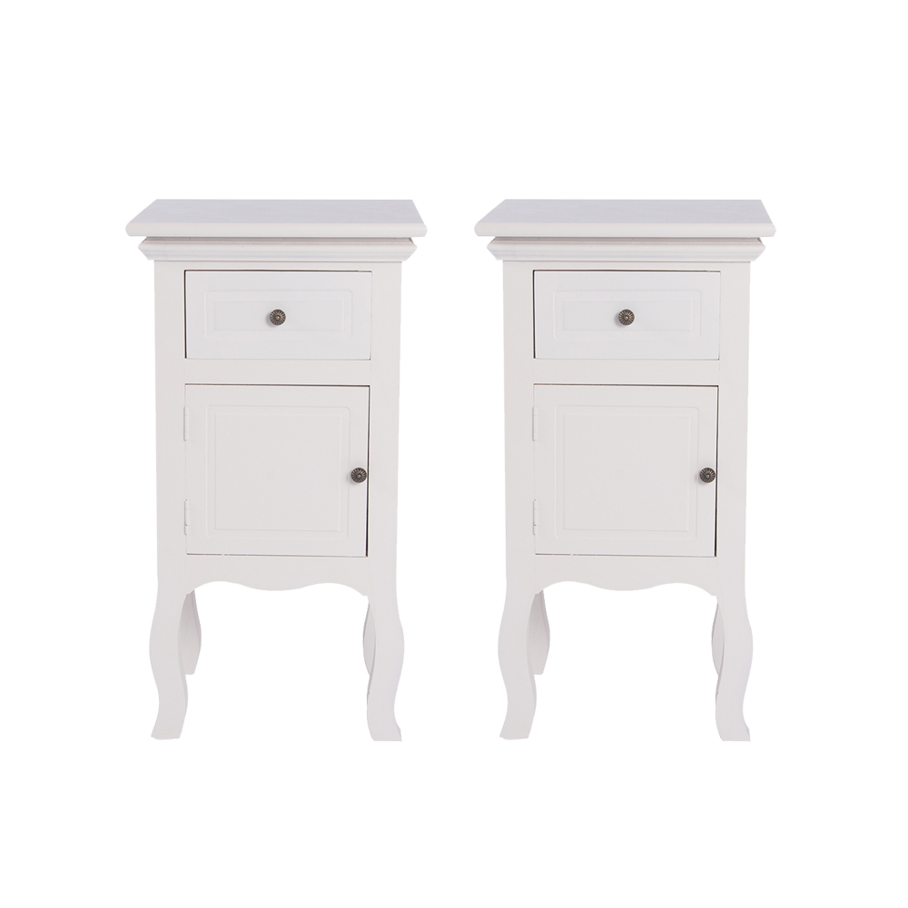 Panana 1pc /2pcs French Vintage White Slim Bedside Table Cabinet Chest Of Drawer Nightstand Furniture Fast Delivery