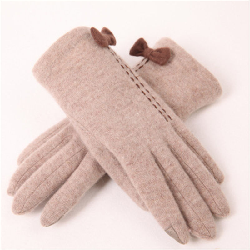 2018 Winter Women Knitted Wool Gloves With Touch Screen Bow knot Solid Color Keep Warm Fashion Five Fingers Lady Glove T145