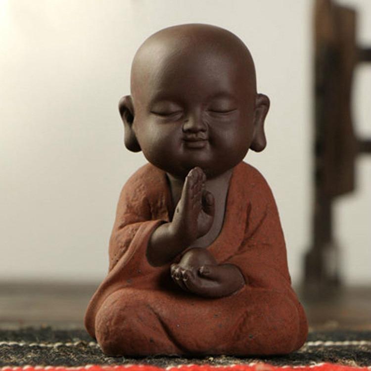 Image 4 - Buddha Statues Small Monk Color Sand Ceramic Home Club Geomantic Decoration Purple  Figurine Tea PetStatues & Sculptures   -