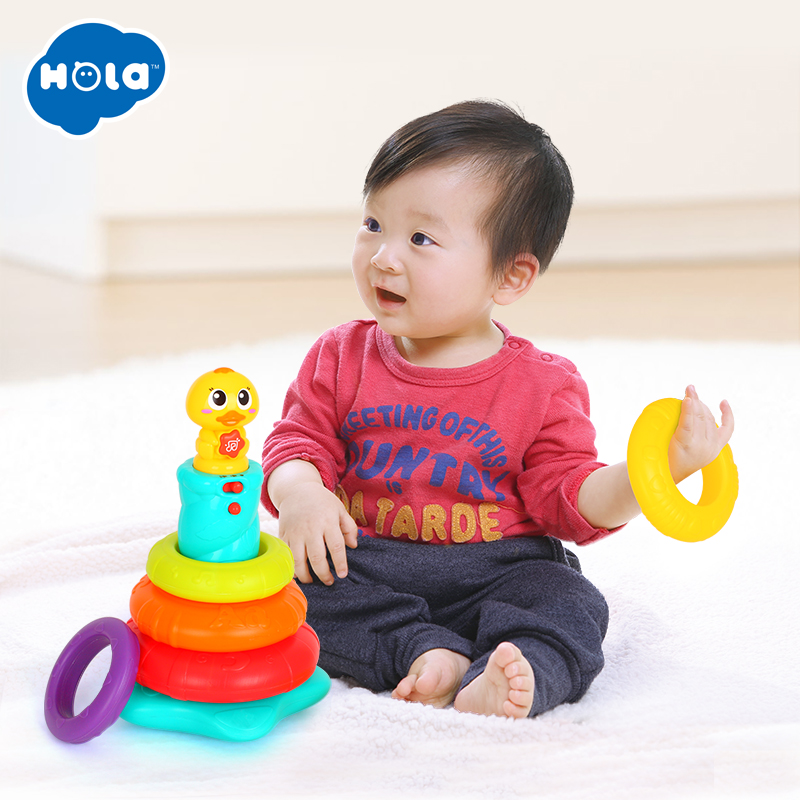 Baby Toy Stacking Rainbow Duck With Music & Lights Rings Rainbow Stack Up Tower Kids Early Educational Toys Gifts