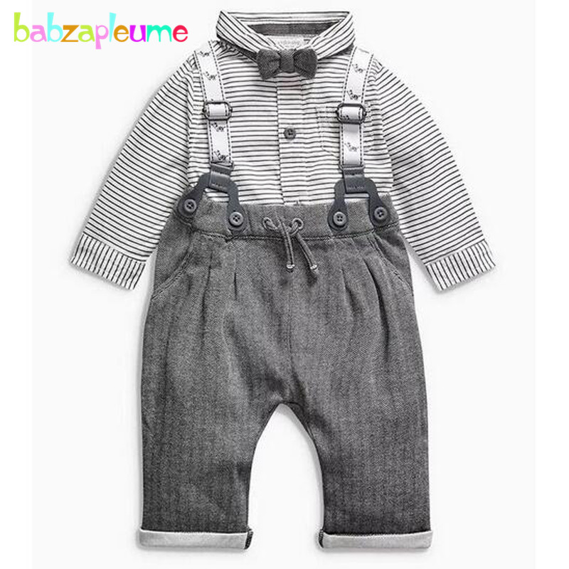 2Piece/0-2Years/Spring Autumn Baby Boys Clothing Sets Gentleman Suits Infant Jackets+Stripe T-Shirt+Pants Newborn Clothes BC1288