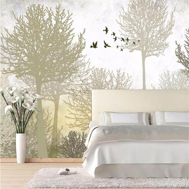 Beibehang טפט תמונה טפט באיכות גבוהה משי בד טפט ציפור ועץ ספה מיטת טלוויזיה קיר רטרו פשוט יער קיר
