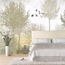 Custom 3d wallpaper photo wallpaper high quality silk cloth wallpaper bird and tree sofa bed TV wall retro simple forest mural  цена 2017