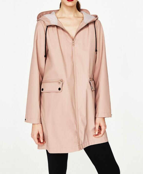 Woman Fashion 2017S Spring Nude Pink Navy WATER REPELLENT Rain coat with hood Front big pockets