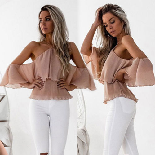 New 2017 Womens Off The Shoulder Ruffles Blouse Summer Tops Ladies Blouses Casual Stretch Shirts