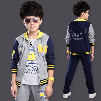 Childrens sports suit 2018 new wave of big boys spring and autumn Korean sweater three-piece childrens clothing