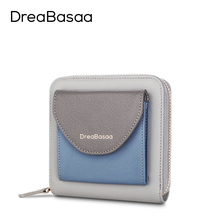 Dreabasaa Genuine Leather Wallet Female Zipper Around Casual Womens Wallets and Purses Short Slim Wallet