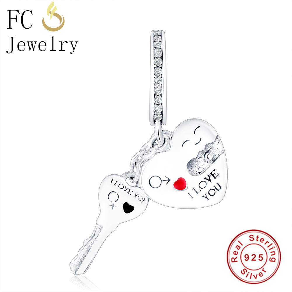 FC Jewelry Love Lock Key Charm Pendant With Zircon Fit Pandora Charm Bracelet & Necklace Hot Selling DIY New Wholesale