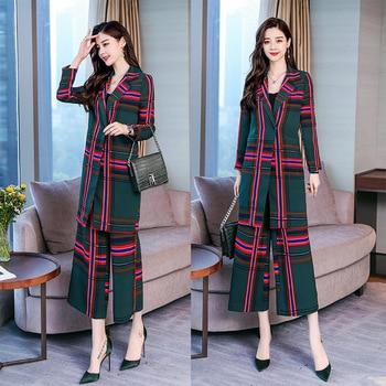 Women's suit new women's long plaid suit women's fashion slim slimming suit 2 sets (jacket + pants)