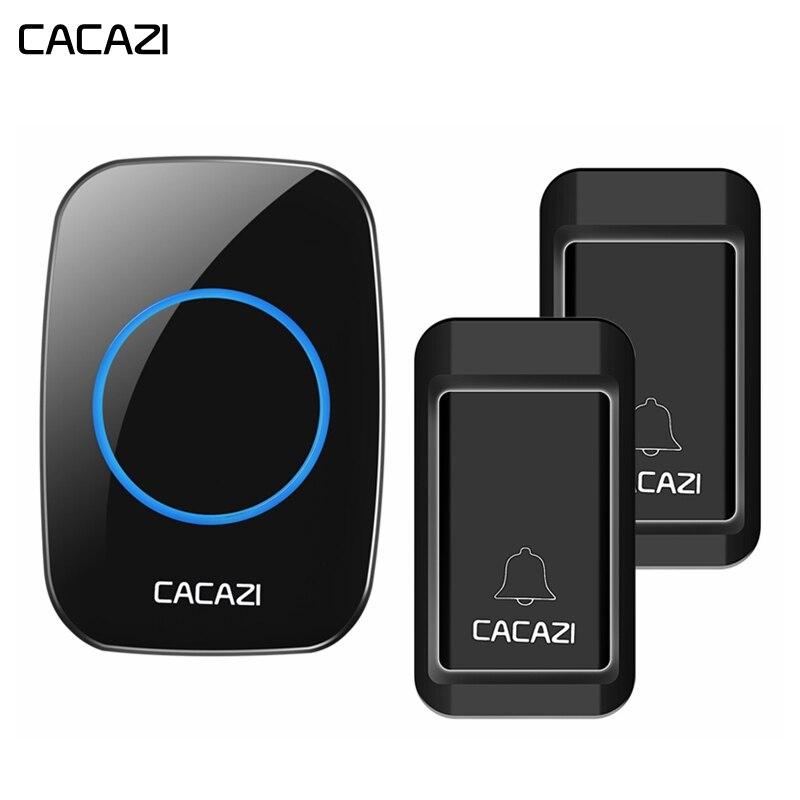CACAZI Sans Fil Auto-alimenté Sonnette Étanche Pas de piles Intelligent US/EU/UK Plug 120 m À Distance AC LED Récepteur Bouton 38 Carillons