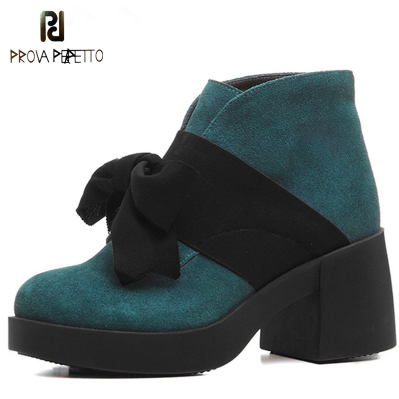 Prova Perfetto Fashion Cute Bowtie Platform Boots Women Thick High Heeled Ankle Boots Genuine Leather Shoes