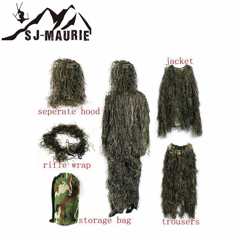 5 pièces Camouflage chasse Ghillie costume secret chasse vêtements Sniper costume armée Camo Jungle tactique costume