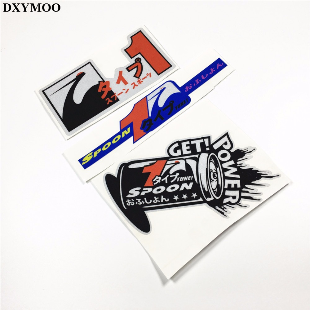 Auto car reflective sticker japanese race motorcycle sticker decals 3m for spoon in car stickers from automobiles motorcycles on aliexpress com alibaba