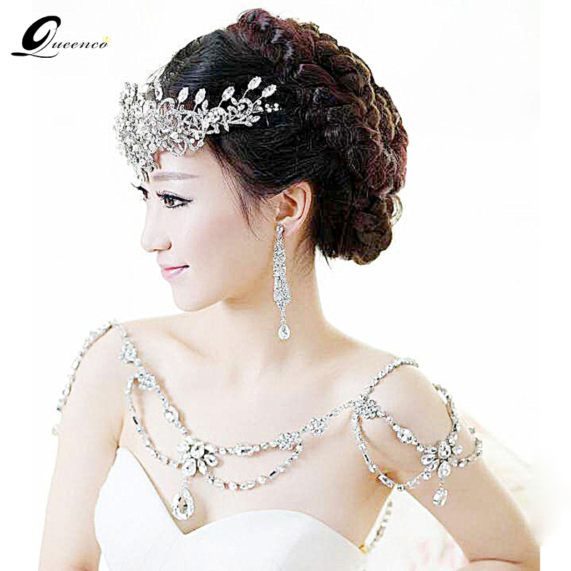 New Fashion Bridal Jewelry Vintage shoulder Chains big Necklaces Pendant Long Necklace Wedding Shoulder strap Bridal
